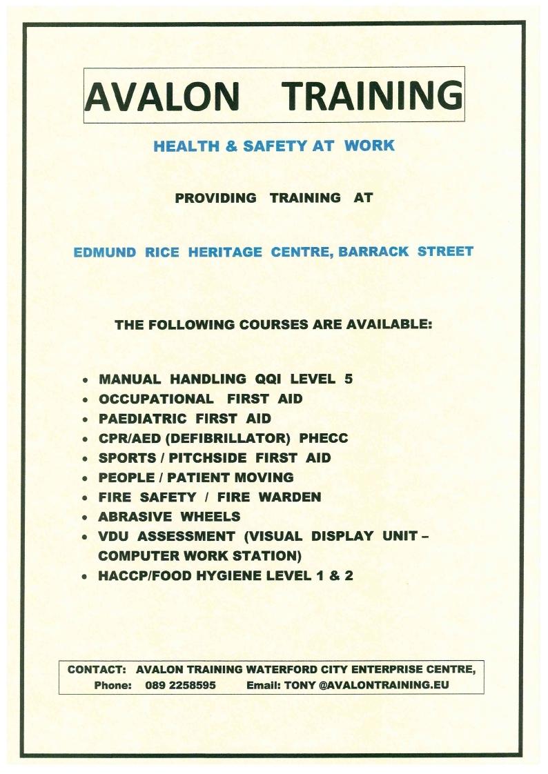 Avalon Training Courses September/October | Edmund Rice